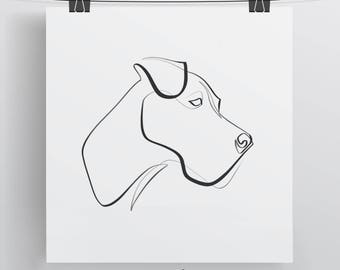 Great Dane Line Art, Great Dane Print, Single Line Drawing, Great Dane Gift, Black and White Minimal Dog Art, One Line Wall Art