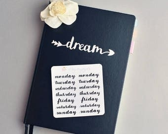 Smaller Days of the week hand lettered planner stickers in Black