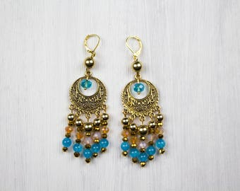BOHO EARRINGS, earrings gold turquoise, gold beads, glass beads, polished crystal glass beads