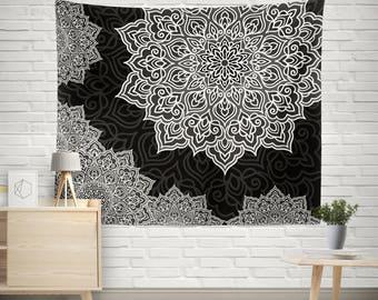 Black and White Tapestry,Mandala Tapestry,Bohemian Tapestry,Indie Vintage Mandala Decor,hippie tapestries,Ethno Mandala Wall Tapestries