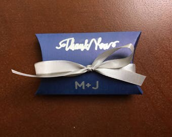 NAVY Blue FAVOR BOX  personalized with Bride & Groom initials, Silver satin ribbon