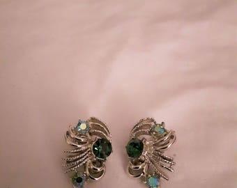 Vintage Aurora Borealis AB Crystals Earrings - Silver Tone - Rhinestones - Clip-on - 1960s