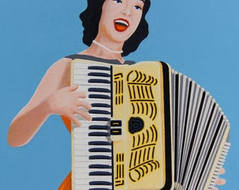 "Original Acrylic Painting Wall Art Pop Art 30"" x 36"" x 1 1/2"" Stretched Canvas Frame Retro Accordion Lady"