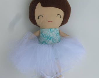 Sweet Ballerina modern rag/cloth doll with light skin tone in Aqua with White tutu, hair bow, closed eyes, ballet slippers