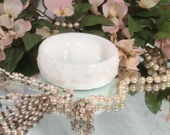 Avon White Milk Glass Cold Cream/Powder Dish with Raised Floral Pattern