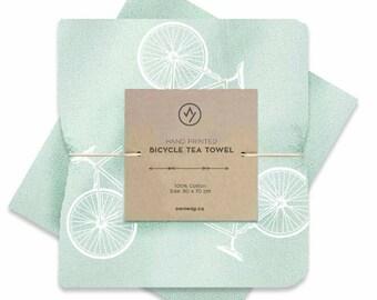 Tea Towel Screen Printed Bike Mint