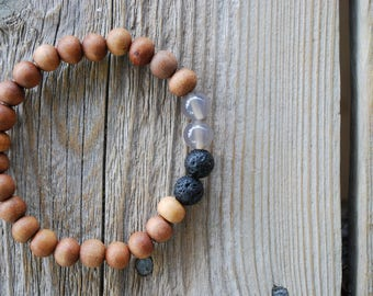 Mens essential oil diffuser bracelet yoga bracelet wood bracelet mala beads meditation beads yoga beads yoga jewelry sandalwood lava beads