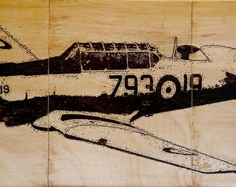 """Plane T-6 """"Texan"""" laser over wood pyrography"""