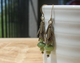 Serpentine and Leaf Cluster Drop Earrings - Antique Brass, Gemstone Earrings, Leaf Earrings, Boho Earrings, Bohemian Earrings, Long Earrings