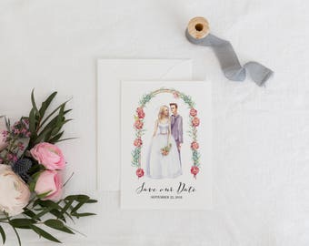 Printable Save the Date, Card Template, Groom and Bride Wedding Save-the-Date, Floral Watercolor