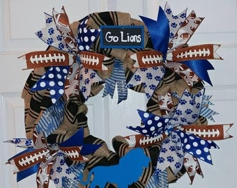 Ready to Ship! Detroit Lions Burlap and Ribbon Wreath-NFL wreath! Blue, Black, and Brown Football Wreath
