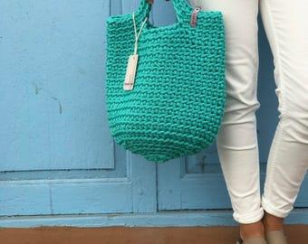 Scandinavian Style Crochet Bag Knitted Handbag TEAL color