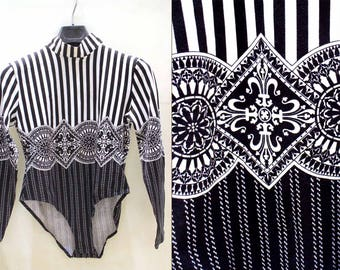 Black and white Christian Llinares/vintage 1980's striped Bodysuit / new / Made in France/size 42