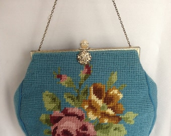 Reserved for BSHY Blue Floral Tapestry Handbag