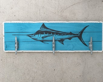Marlin Cleat Rack, Nautical Cleat Rack, Patio Hooks, Dock Cleat Rack, Coastal Decor, Pool towel hooks