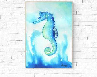 SEAHORSE ART PRINT - Beach Art, seahorse painting, watercolor seahorse,  birthday gift, gift for her, girls room, wall art, ocean theme