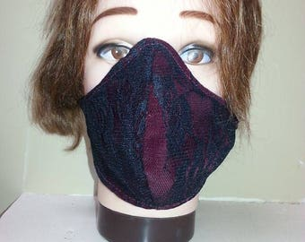 Elegant Red + Black Lace Mask