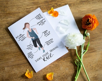 Motivating Greetings Card // Runner // Marathon Training // Illustrated Card // Blank Inside // You can do it! // Signs of a runner