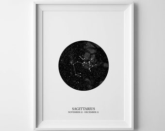 sagittarius print, constellation print, horoscope print, sagittarius sign, zodiac art print, sagittarius birthday, sagittarius poster