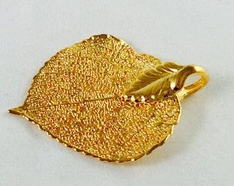 24k gold filled Aspen Leaf I Aspen Leaf I Gold filled Aspen leaf I Gold filled I Aspen I Aspen pendent I 24K Asper leaf