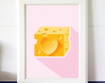 Cheese Print for Kitchen Wall Art Paleo Print of Food Printable Art Healthy Fats Poster Gift for Foodie Kitchen Art Download Digital File