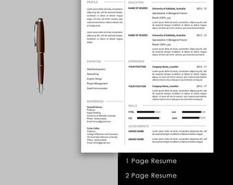 Resume Template instant download, 1 page resume, 2 page resume, cover letter, cv design, professional resume, creative resume, cv template