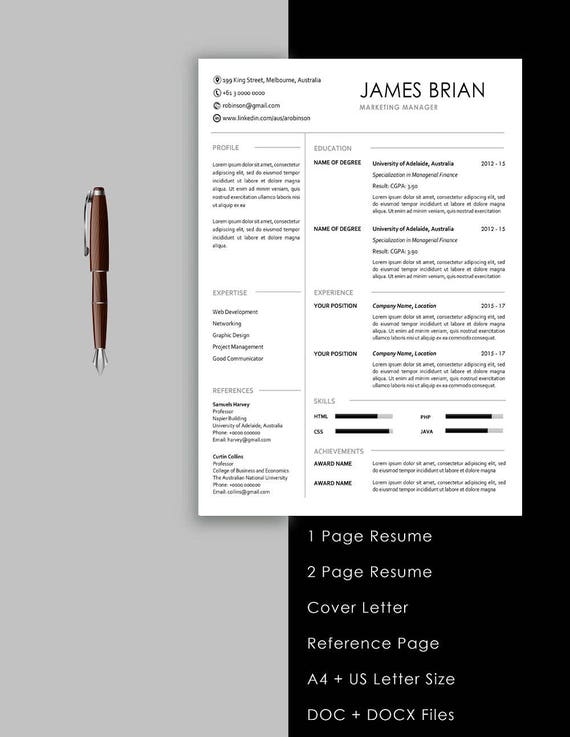 Resume Template Instant Download 1 Page Resume 2 Page