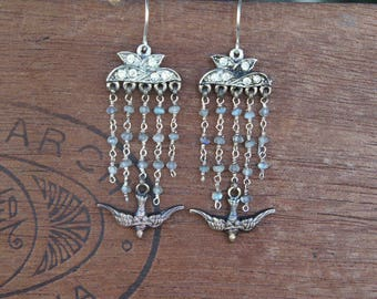 Five Strand Vintage Rhinestone, Labradorite and Bird Earrings Hollywood Glam Tassel