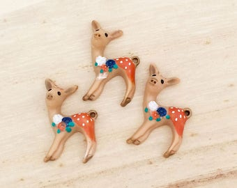 Christmas Deer Cabochons (3 pcs) Kawaii Cabochons Resin Charm Flat Back Cell Phone Deco