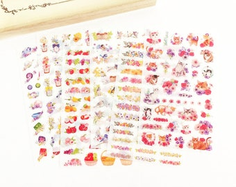6 Sheets Cat & Floral Clear Sticker Set Korean Stationery Planner Accessories Deco Diary Stickers