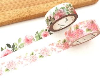 Dreamy Floral Washi Tape - Camellia & Pastel Pink (1 pc / 2 pcs) Japanese Stationery Flower Masking Tape Set Deco Tape