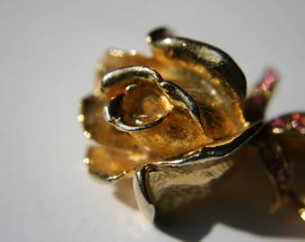 Gerry's Gold tone floral rose pin/brooch with pink crystals