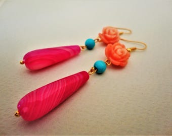 Pink Earrings with Rose Flower. Agate Earrings. Flower Earrings. Rose Earrings. Pink Earrings. Turquoise Earrings. Romantic Earrings, Summer