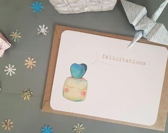"Card ""Congratulations!""  Cactus heart"