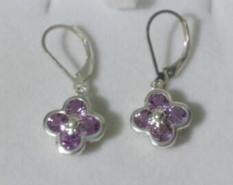 Natural Amethyst 925 Earrings 8 - 2mm Amethyst stones