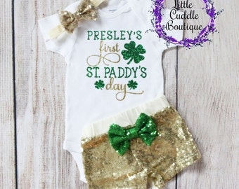 Personalized St. Patrick's Day Outfit,  St. Patrick's Day Bodysuit, First St. Paddy's Day Outfit, Shamrock Outfit, First St. Patrick's Day