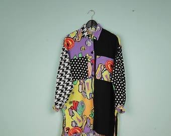 nadine h. crazy pattern shirt colorful long looose oversized buttoned up blouse dots pixels shapes blouse pattern abstract geometric viscose