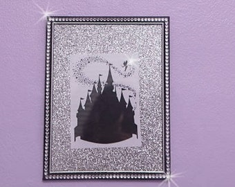 Cinderella castle silhouette with bling frame