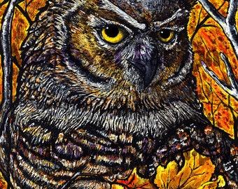 Autumn Owl Original Art Print
