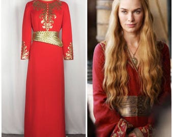 Vintage Red Cersei Lannister Dress Gold Faux Leather Halloween Cosplay Game Of Thrones