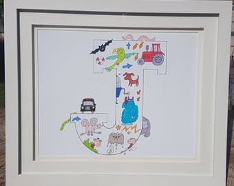 Hand drawn, colourful and signed, limited edition decorative prints of children's initials