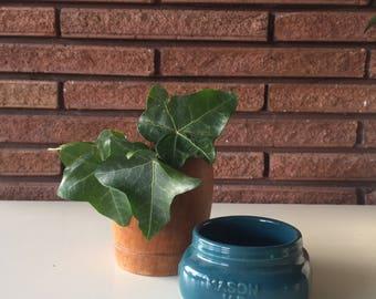 Vintage Hand Painted Turquoise Ceramic Mason Jar