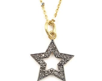 Short diamond star necklace, Gold necklace, Pave diamond jewelry, Pave diamond necklace, Gold chain, Diamond pendant, Sterling necklace