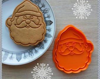 Santa cookie cutter. 3D printed cutter. Christmas. Dough Cutter. Fondant Cutter