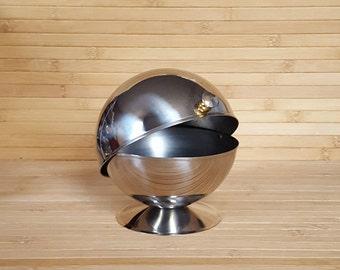 Stainless steel bowl, lidded sugar bowl, 1970s sugar bowl, kitsch bowl, 1970s bowl,