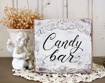 Candy bar sign Vintage wedding sign Small wood decor Candy table decor Candy bar template Desert table decor Wedding sweets sign Candy sign