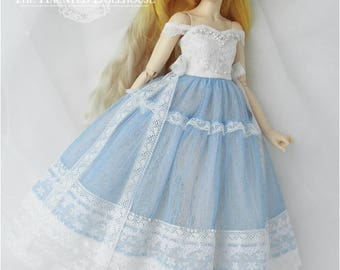 Made to order cream and blue tulle lace dress set for 1/4 size BJD