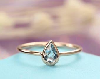 Minimalist Pear shaped engagement ring Simple Aquamarine engagement ring bezel set 14K Gold Thin Dainty Petite Delicate Promise Anniversary