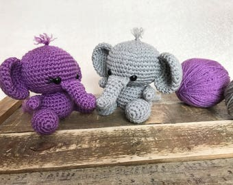 Small Grey Elephant, Stuffed Elephant Toy,Small Elephant Plush,Baby Elephant Stuffy,Grey Elephant,Grey and Purple,Elephant Nursery,Elephant