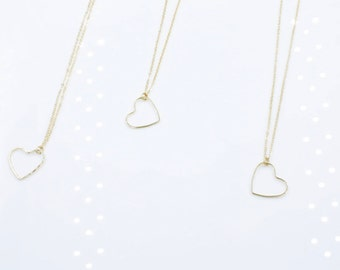 Heart Charm Necklace 14K Gold Plated Tiffany Style Bridesmaid gift friendship necklace Flower girl